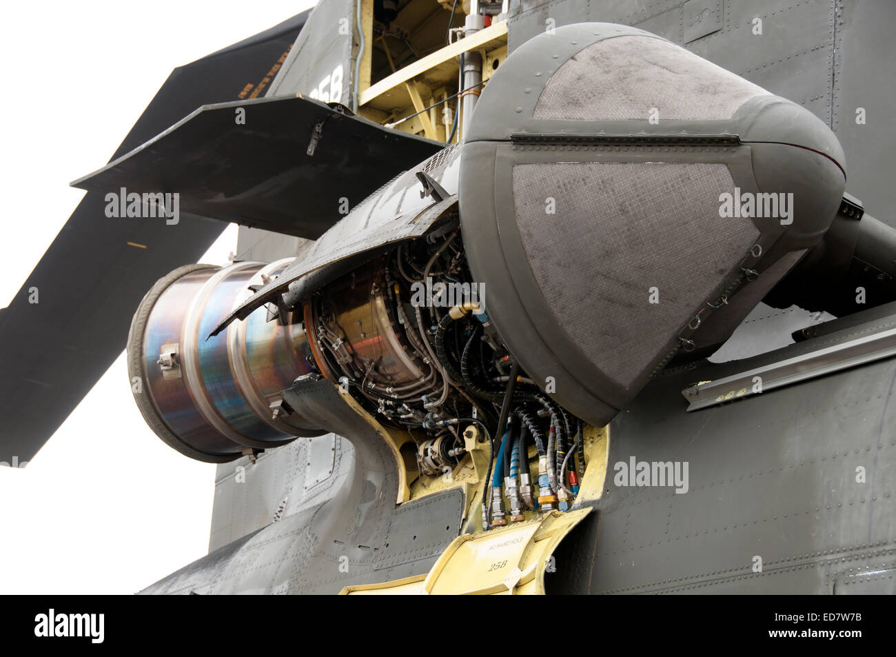 Exposed jet engine on chinook helicopter stock photo for Jet motors mini for sale