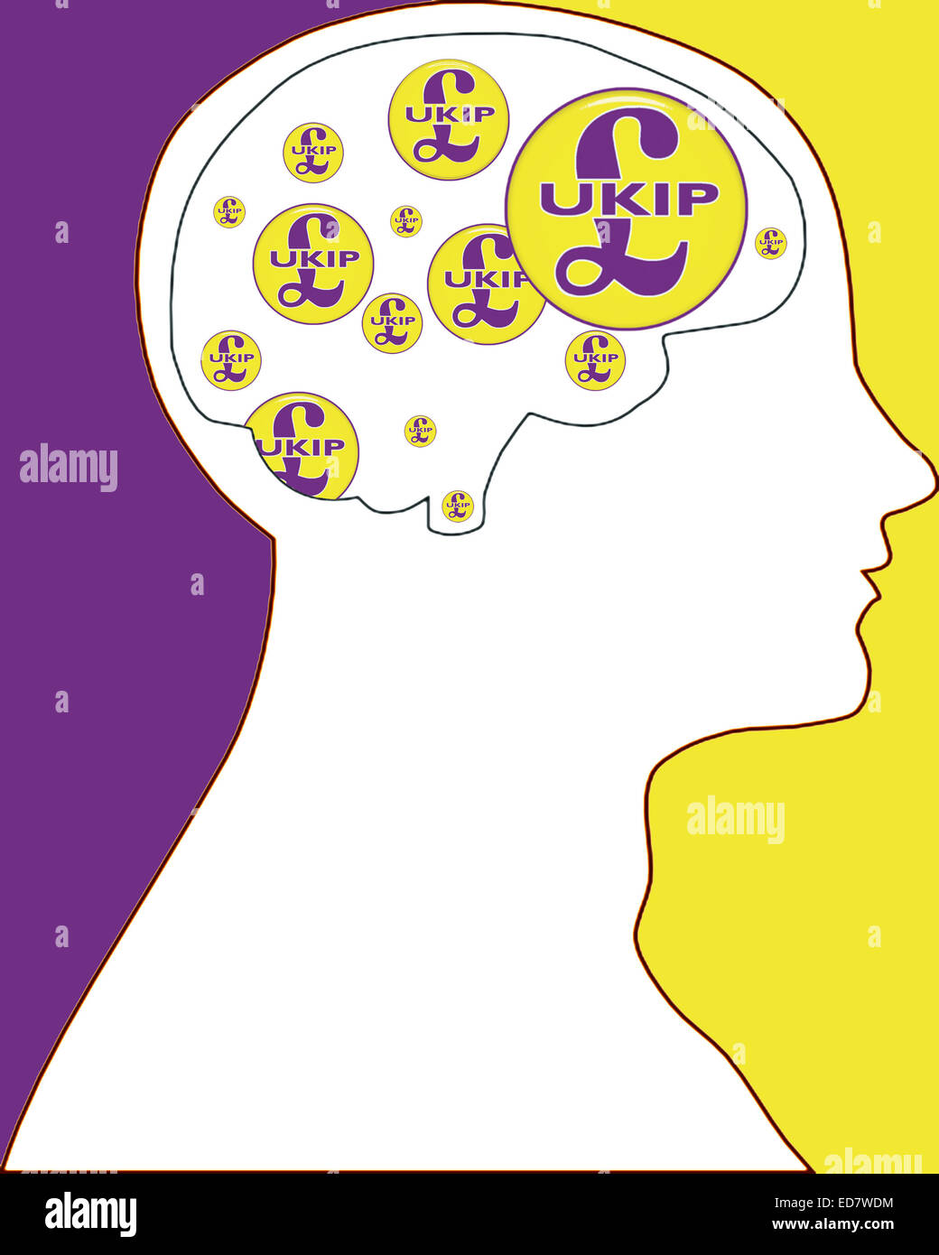UKIP on my mind conceptual illustration for editorial purposes only. - Stock Image