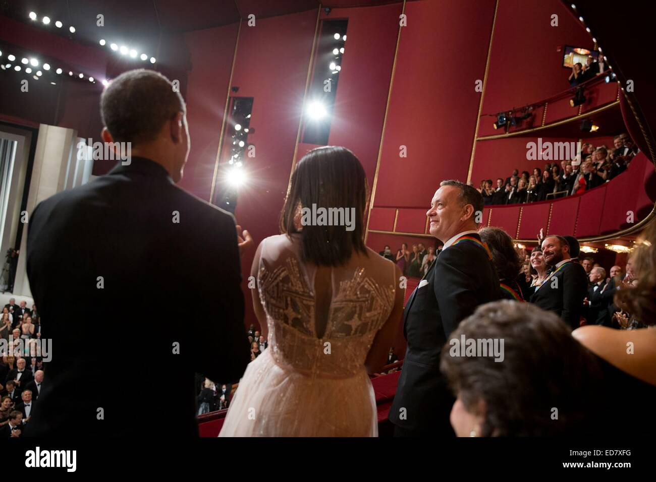 US First Lady Michelle Obama and President Barack Obama lead a standing ovation for actor Tom Hanks the Kennedy - Stock Image