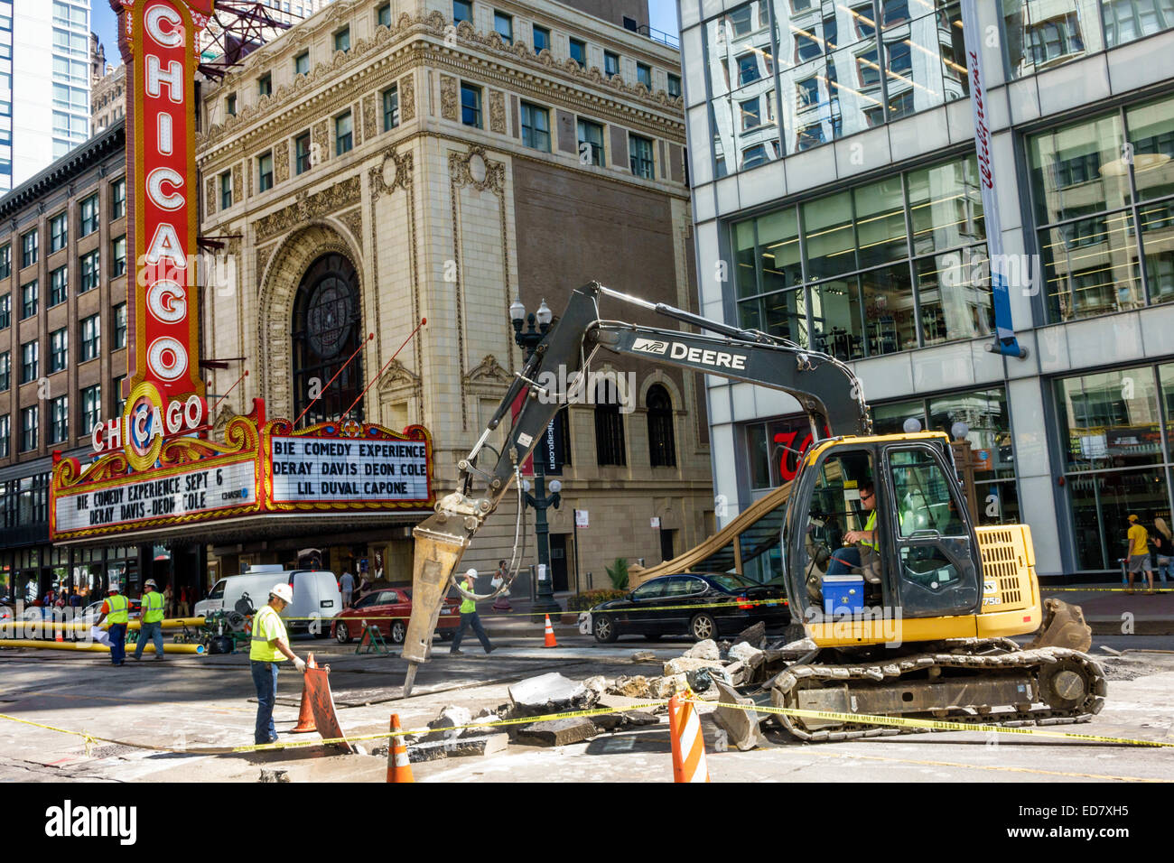 Chicago Illinois Loop downtown North State Street The Chicago Theatre marquee road construction repair capital improvements - Stock Image