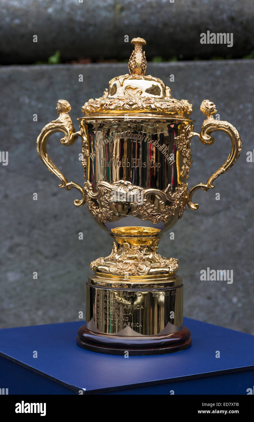 The Webb Ellis Cup on display in Newcastle upon Tyne to publicise the 2015 Rugby Union World Cup. - Stock Image
