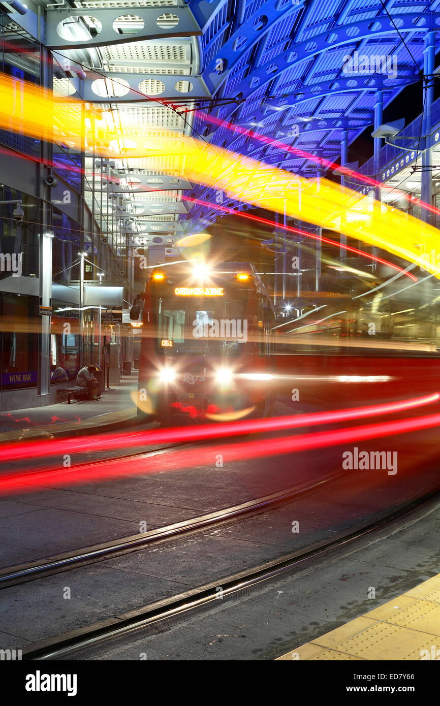 Trolley and tracks, American Plaza, Santa Fe Transit Center, San Diego, California USA - Stock Image