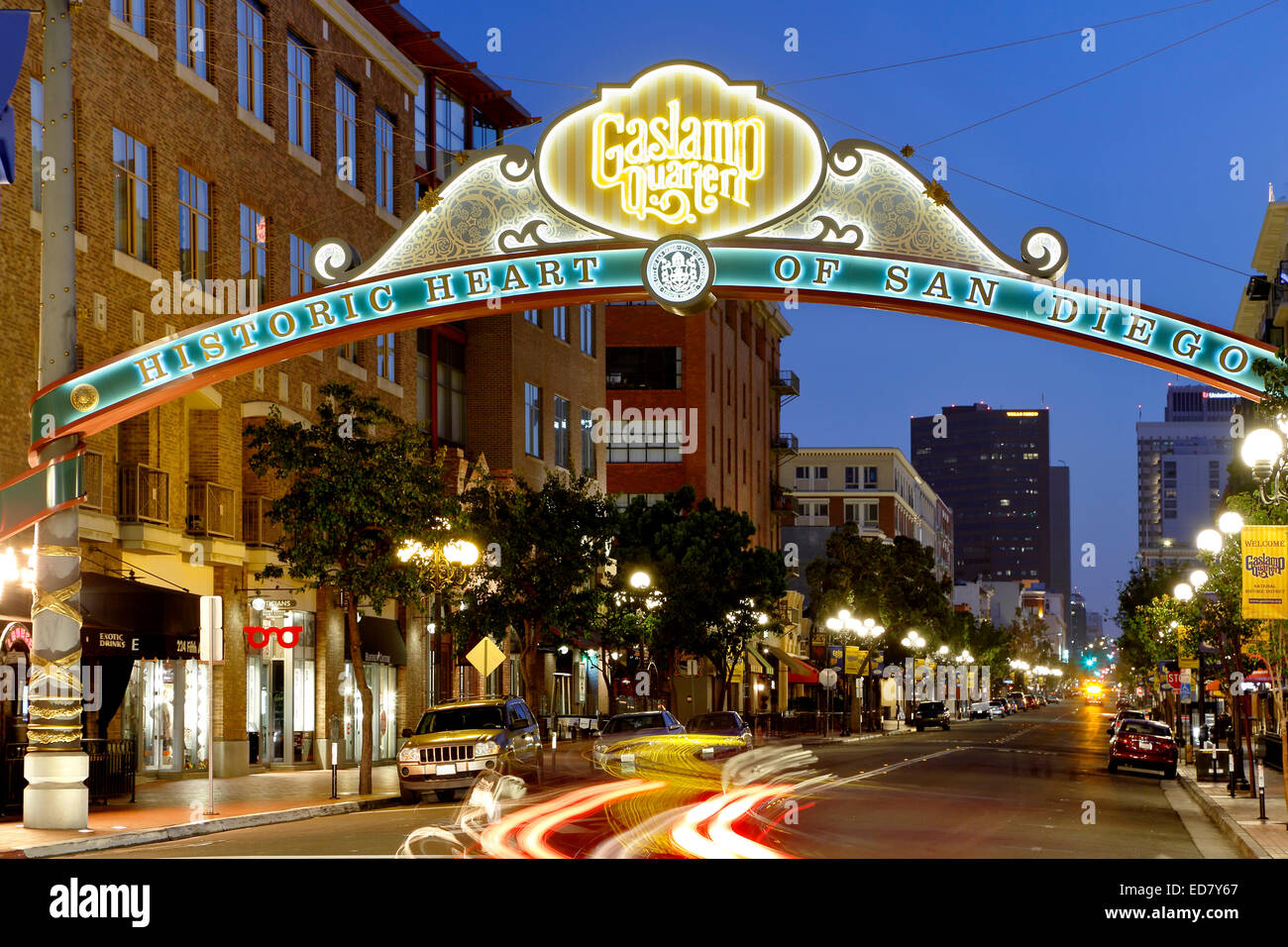 Historic Gaslamp Quarter, San Diego, California USA - Stock Image