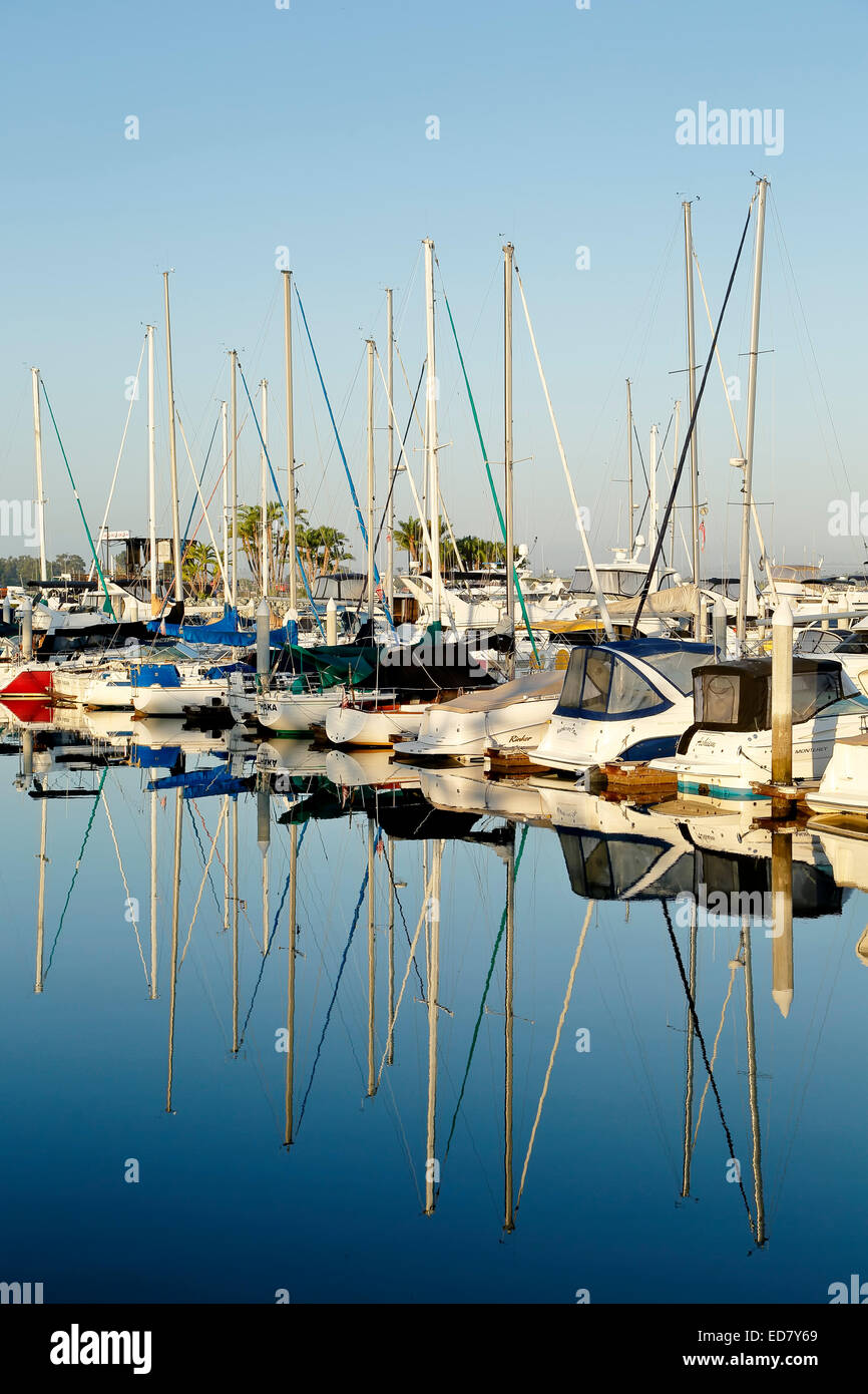 Sailboats, Embarcadero Marina, San Diego, California USA - Stock Image
