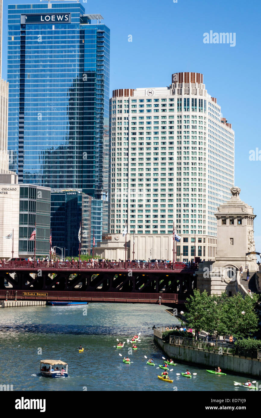 Chicago Illinois River North downtown Chicago River Sheraton Chicago Hotel & Towers Michigan Avenue DuSable Bridge Stock Photo