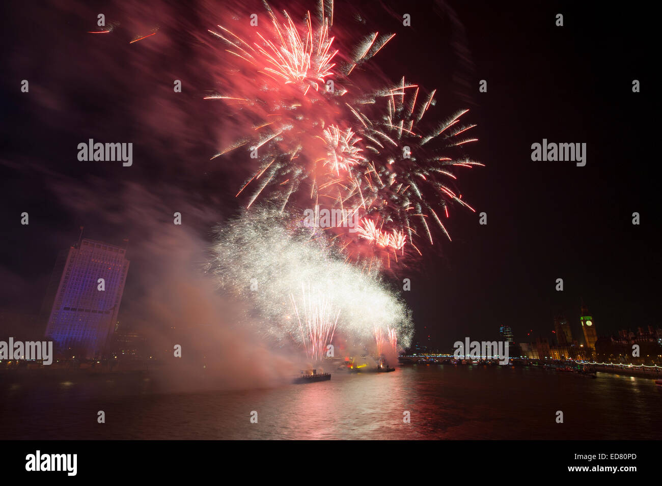 Central London, UK. 1st January, 2015. NYE 2014 firework display, presented by the Mayor of London, centred around - Stock Image
