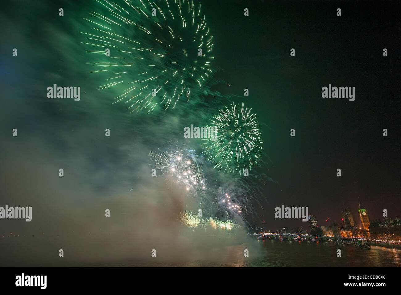 Central London, UK. 1st January, 2015. NYE 2014 firework display, presented by the Mayor of London, centred around Stock Photo