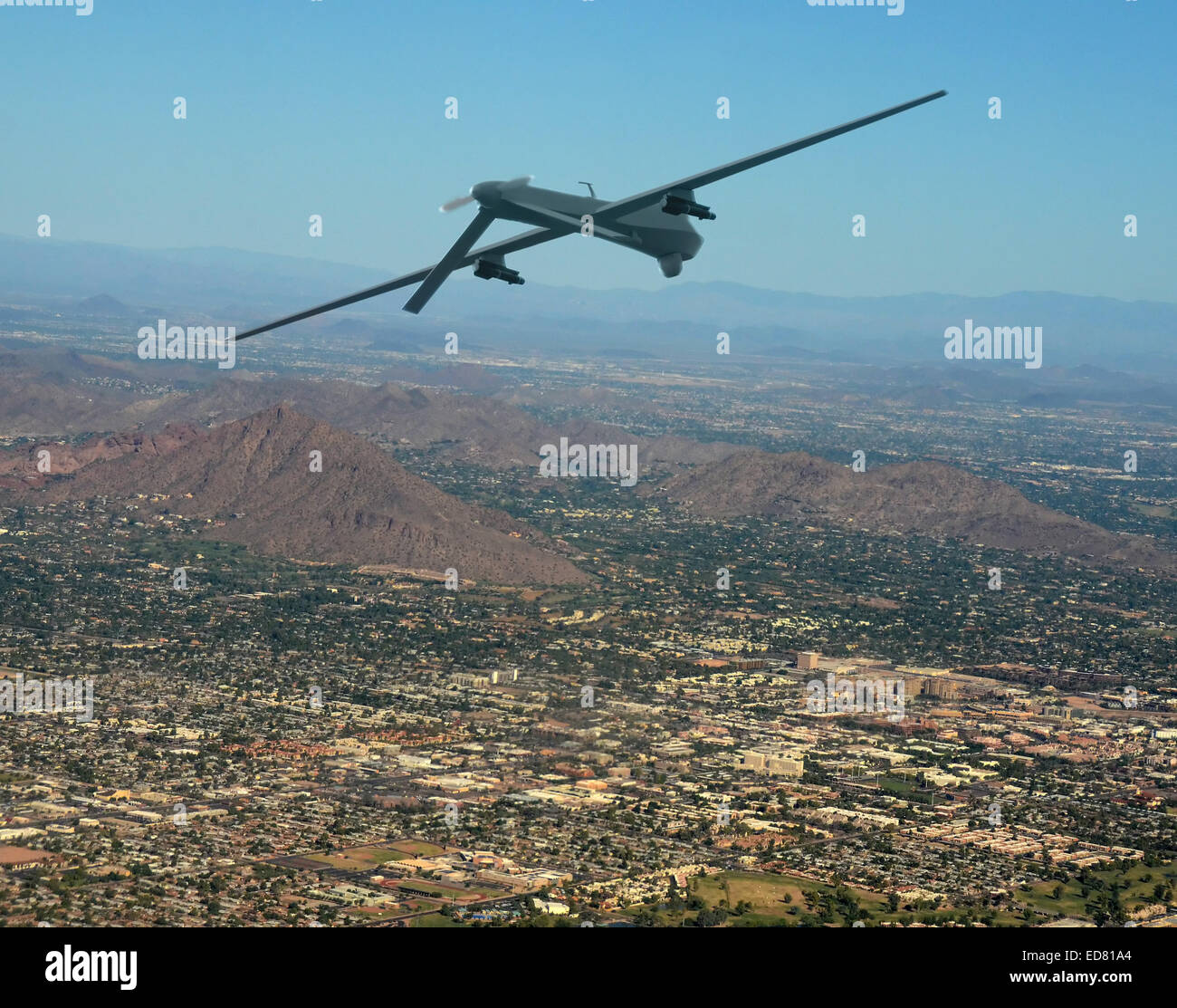 Unmanned military drone on patrol air to air - Stock Image