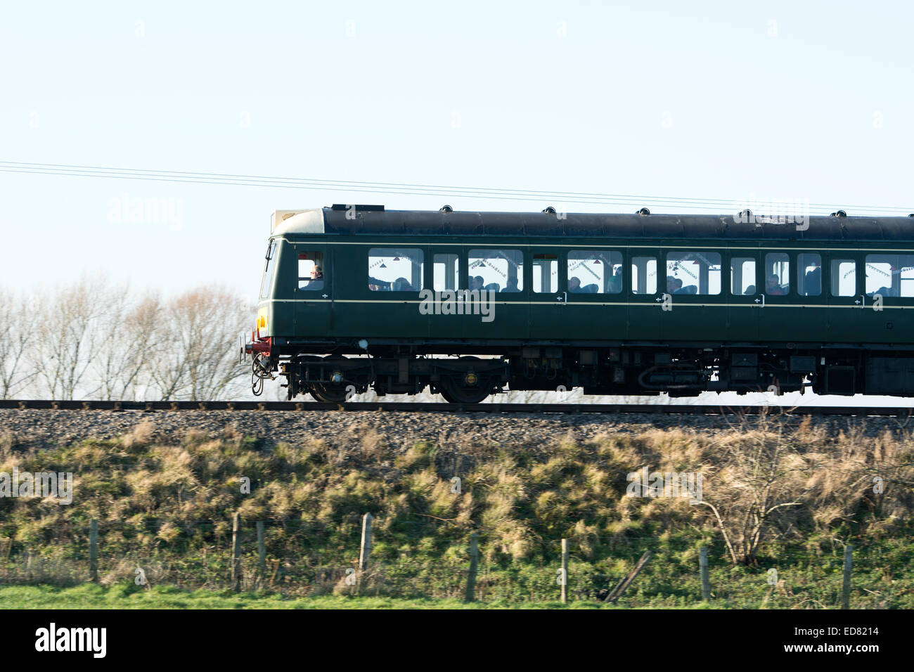 Diesel multiple-unit train on the Gloucestershire and Warwickshire Railway, Gloucestershire, UK - Stock Image