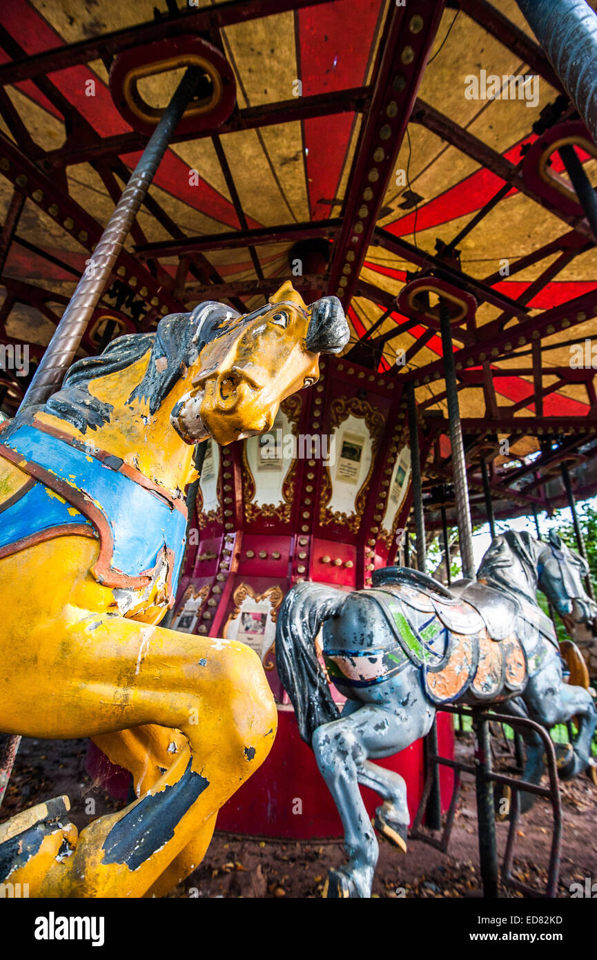 Sinister Horse On Derelict Carousel At Abandoned Amusement Park Stock Photo Alamy