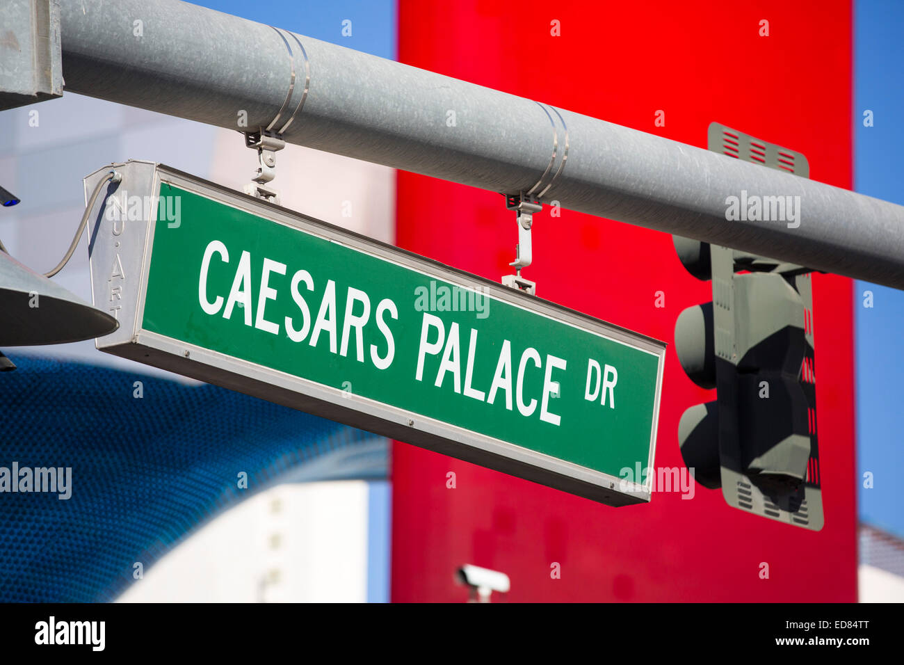 Caesars Palace Drive in Las Vegas, Nevada, USA, probably the most unsustainable city in the world, it uses vast Stock Photo