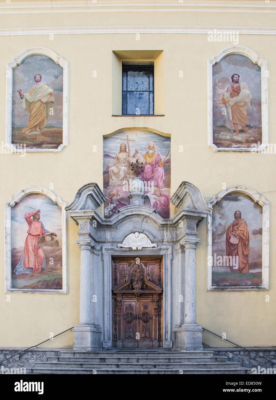 church of Santissima Trinità in Ponte di Legno, Italy - Stock Image