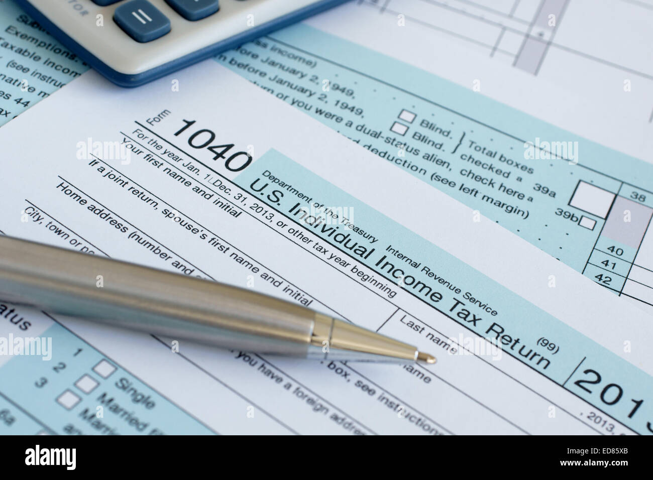 United States federal income tax return IRS 1040 documents - Stock Image