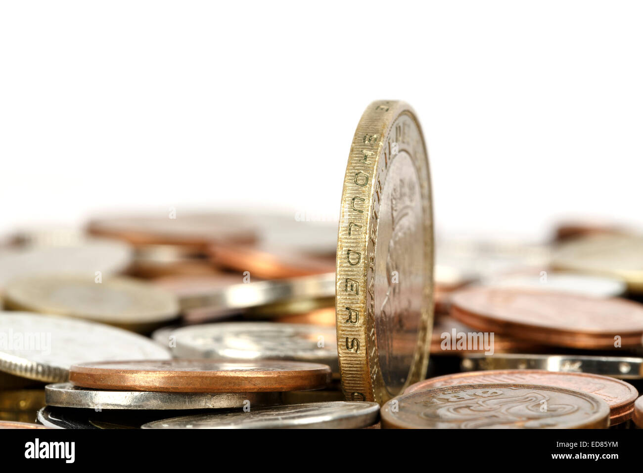 One coin towers over other - Stock Image