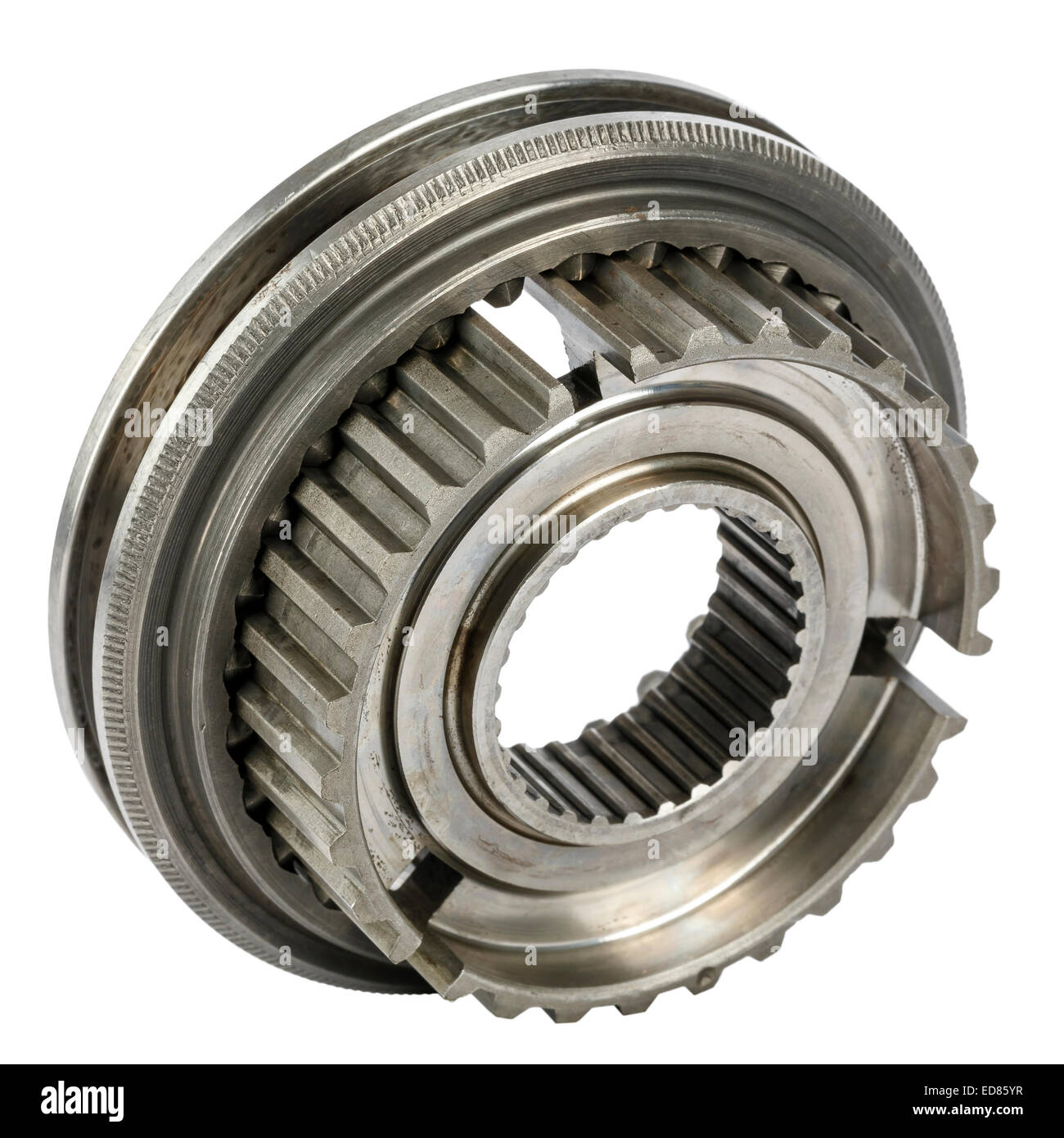 Synchronizer hub and shift sleeve - Stock Image
