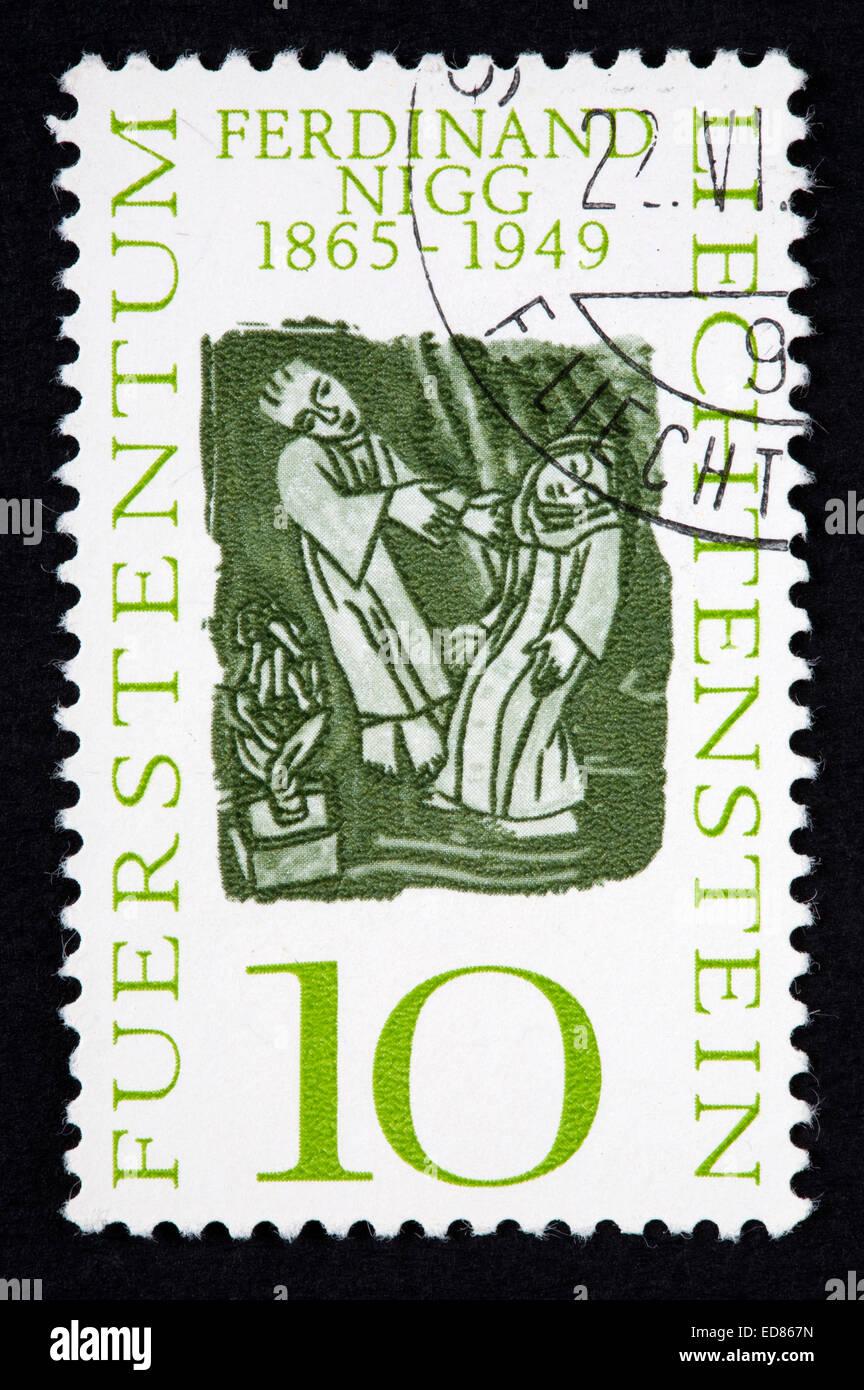 Liechtenstein postage stamp - Stock Image