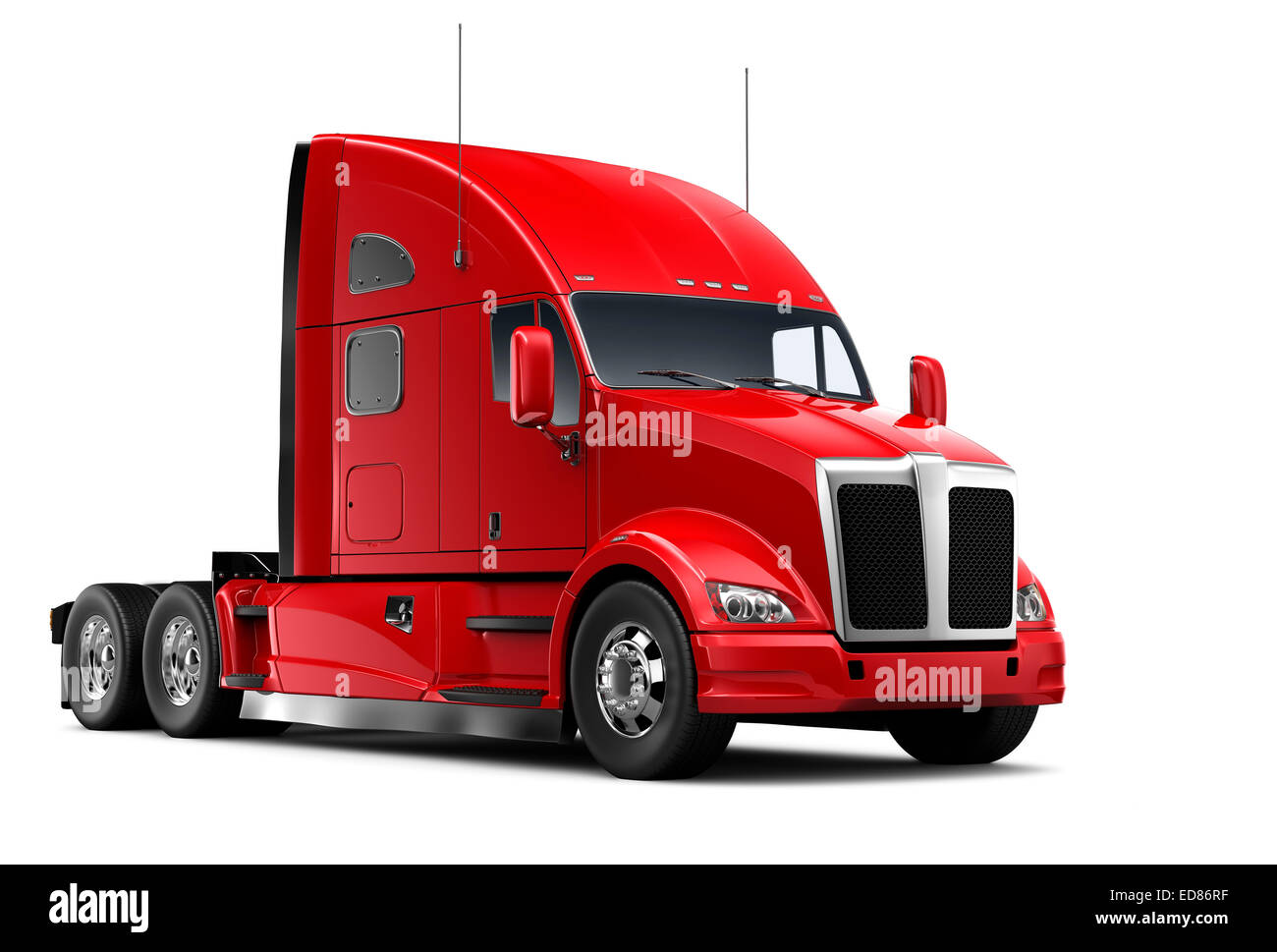 Isolated Red heavy truck - Stock Image