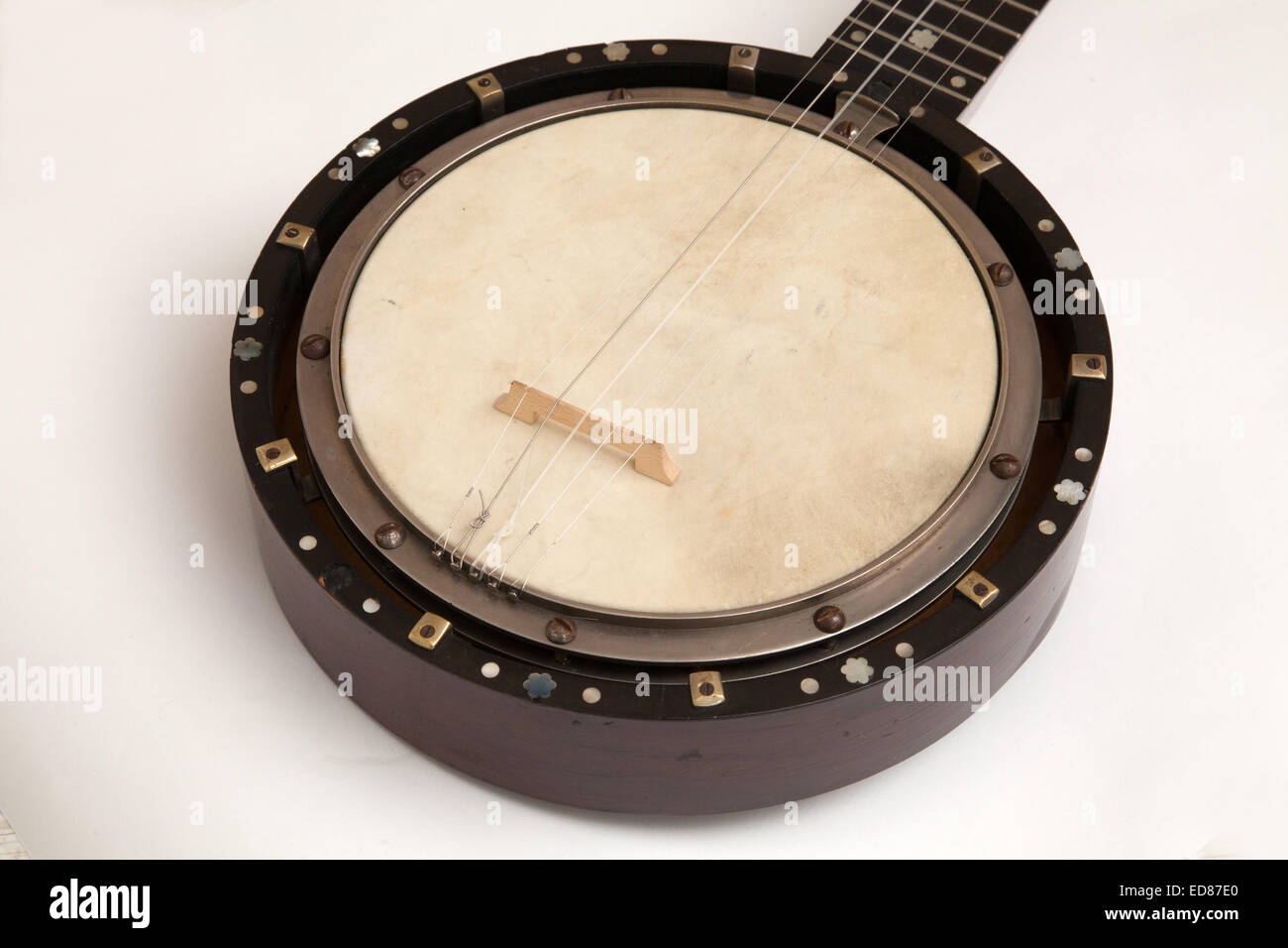A 19th century Zither Banjo, made by W Temlett, of London - Stock Image