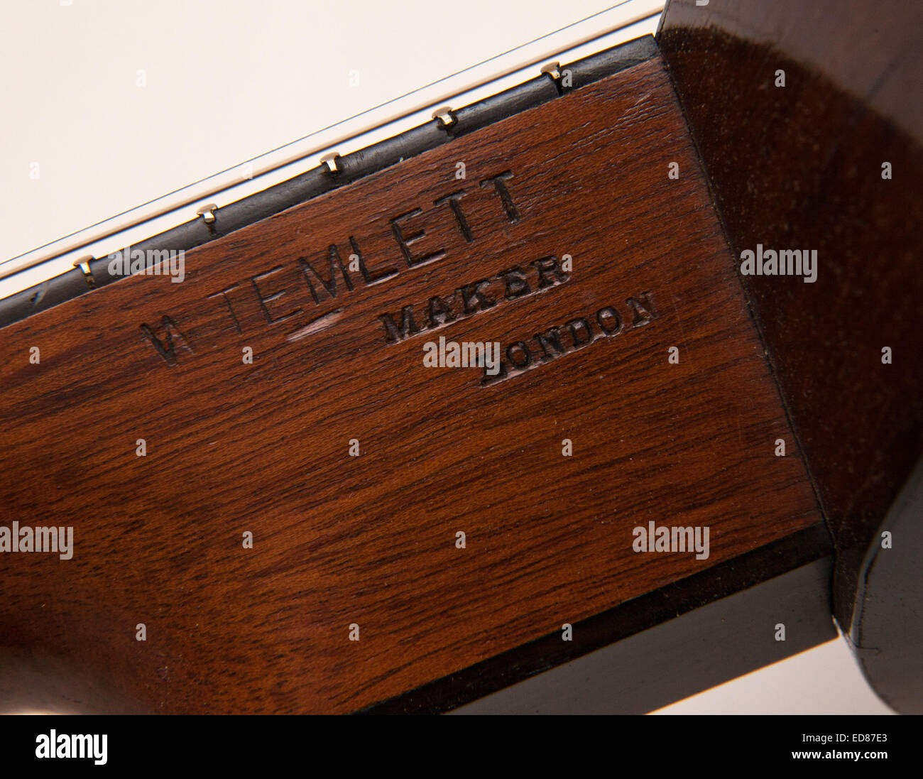 Detail on a 19th century Zither Banjo, made by W Temlett, of London - Stock Image