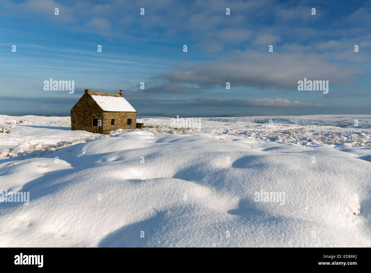 The North Yorkshire Moors under snow in December 2014 - Stock Image