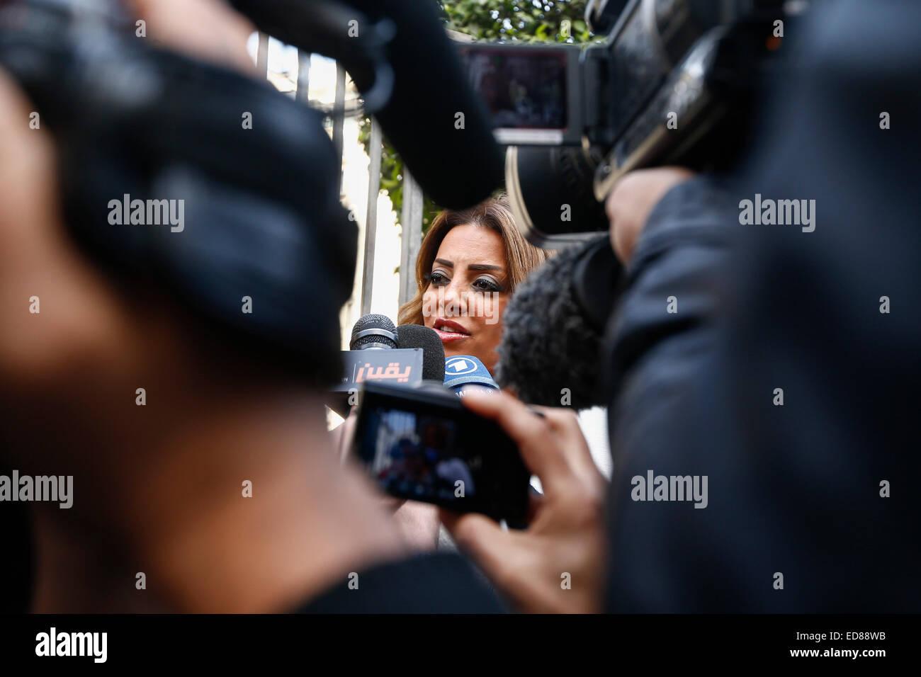 (150101) -- CAIRO, Jan. 1, 2015 (Xinhua) -- Marwa Omara, the fiancee of Egyptian-Canadian Al-Jazeera English journalist - Stock Image