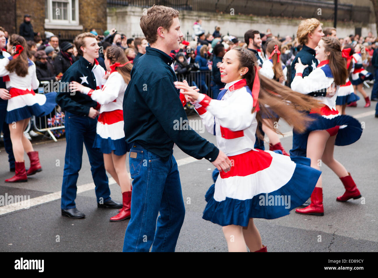 Westminster, Central London, London, UK 1st January 2015 The Wildcat Wranglers London New Years Parade Day 2015 Stock Photo