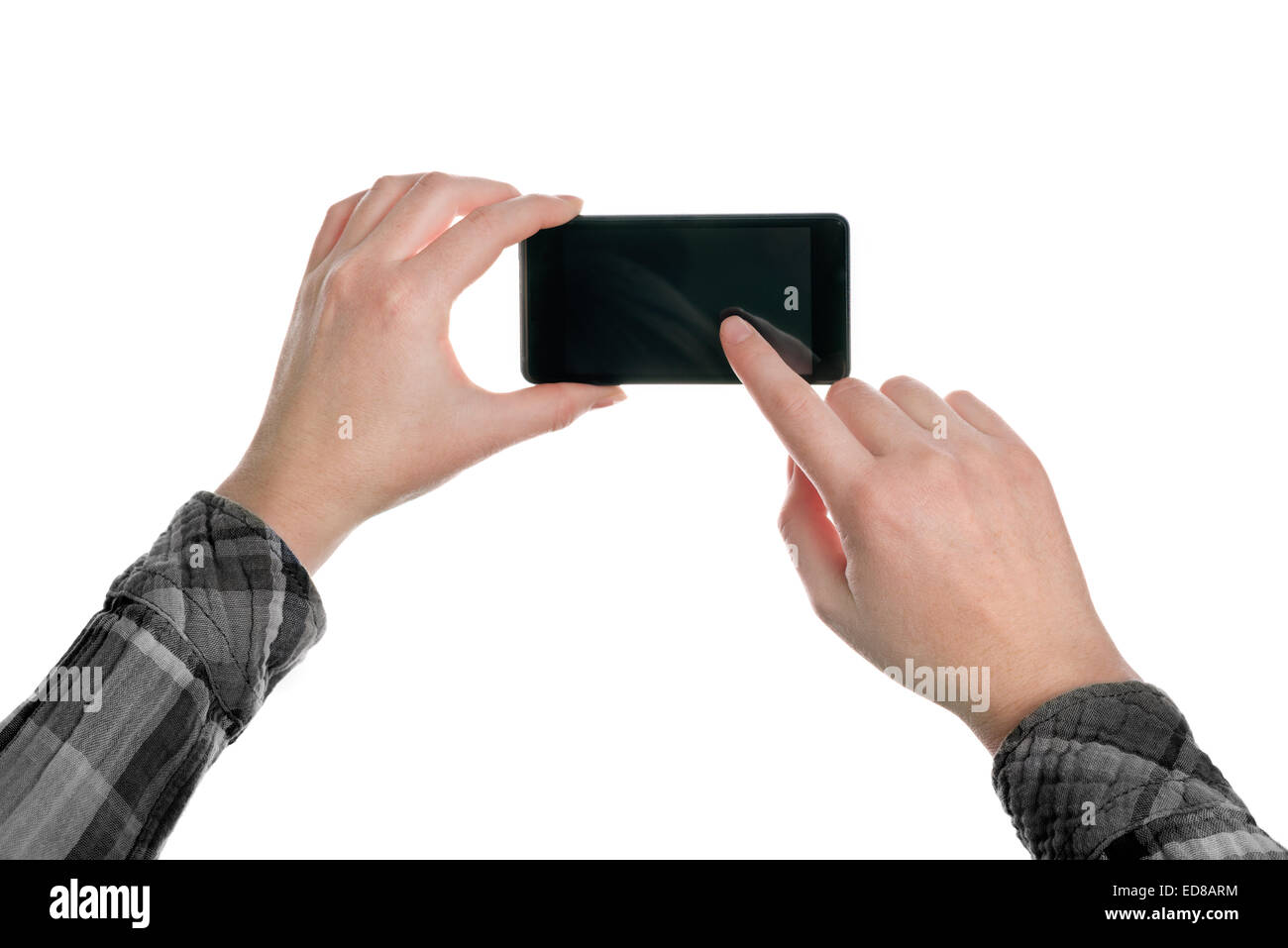 Woman taking snapshot pictures with mobile smart phone application, hand holding device isolated on white background - Stock Image