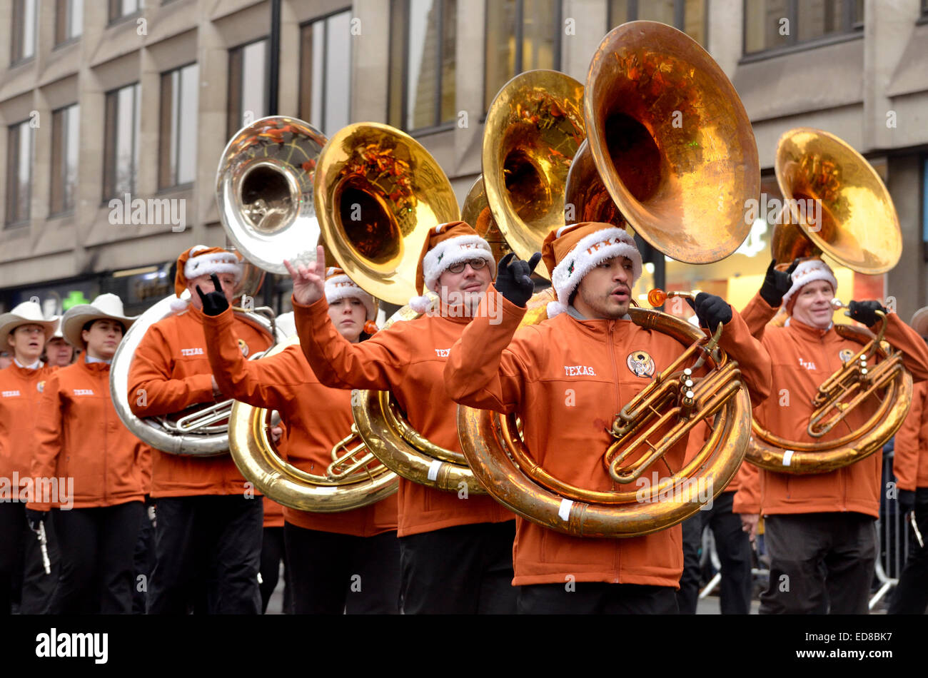 London, UK. 1st January, 2015. New Year's day Parade from Piccadilly to Parliament Square. University of Texas Longhorn Stock Photo