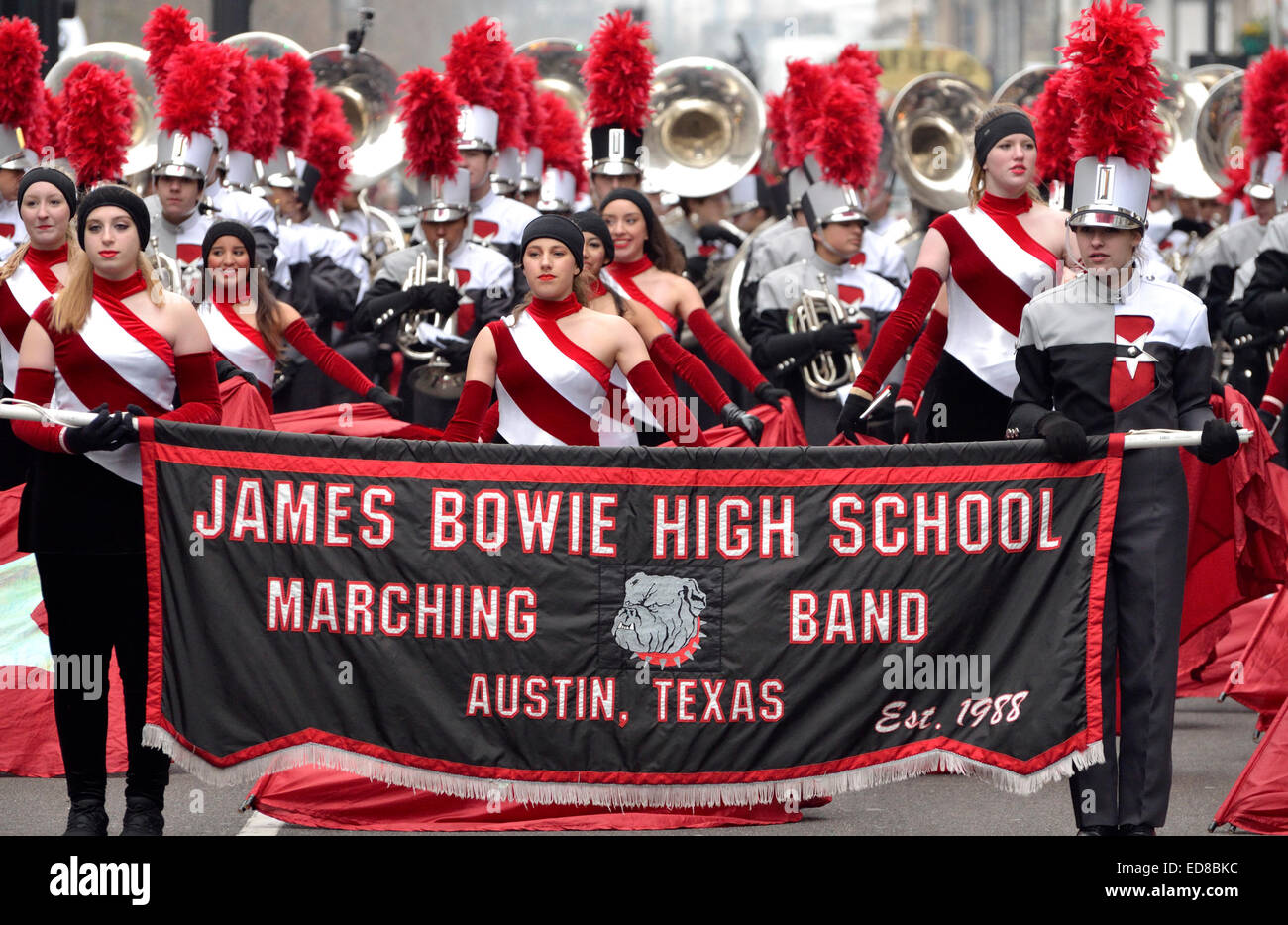 London, UK. 1st January, 2015. New Year's day Parade from Piccadilly to Parliament Square. James Bowie High School Stock Photo