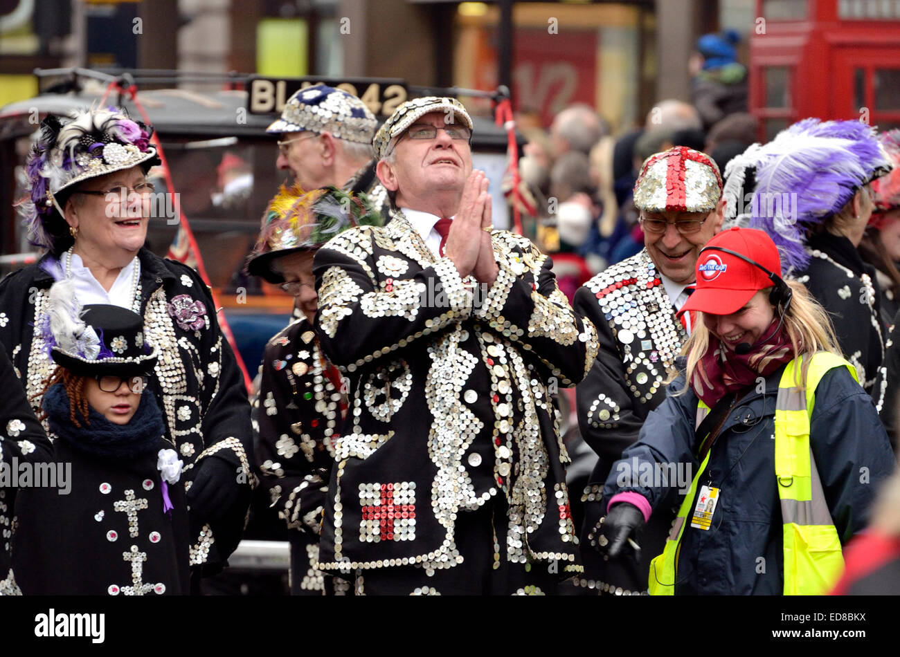 London, UK. 1st January, 2015. New Year's day Parade from Piccadilly to Parliament Square. Pearly kings and - Stock Image