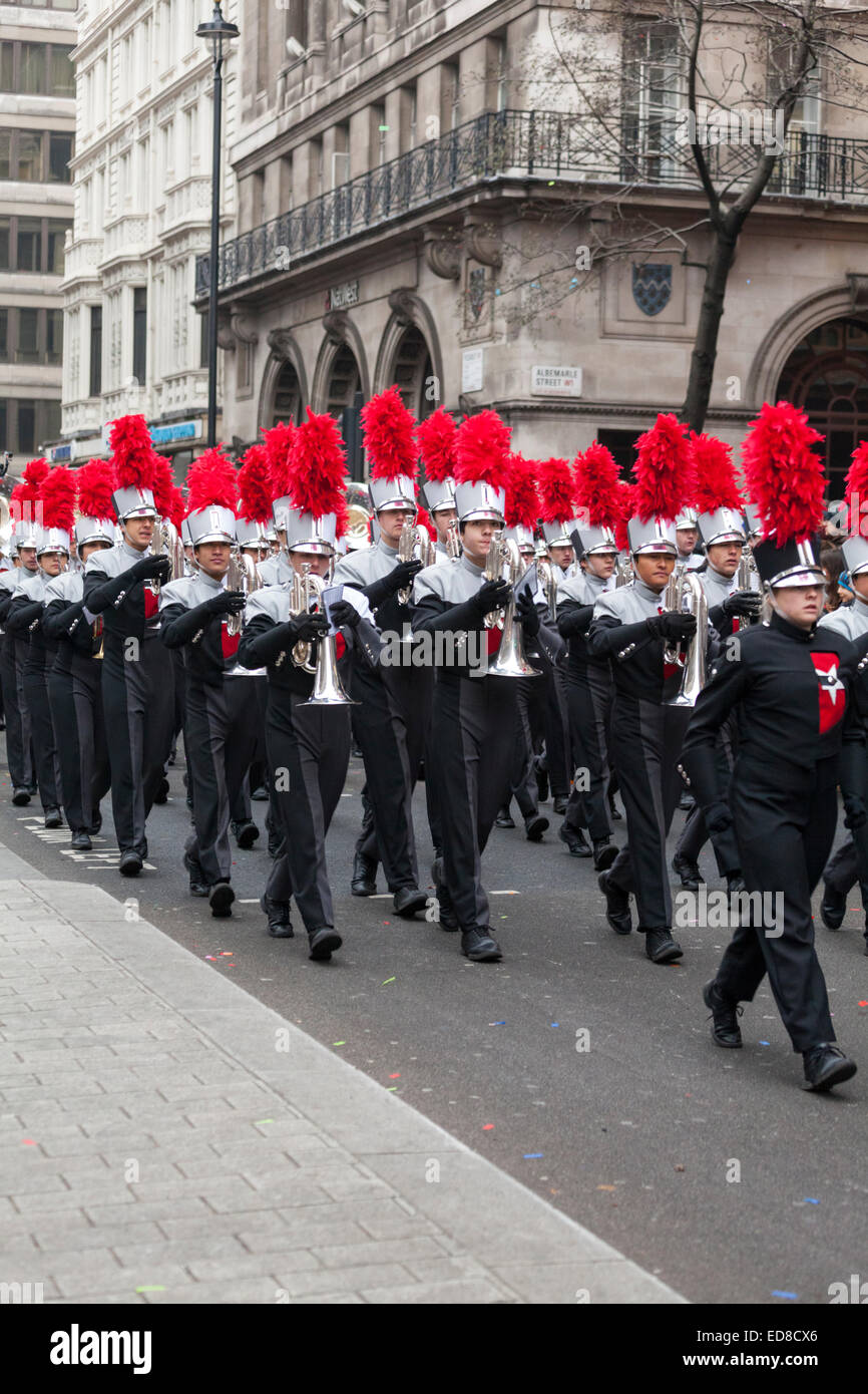 The James Bowie High School Marching Band from Austin, Texas on Piccadilly during the London New Year's Day - Stock Image