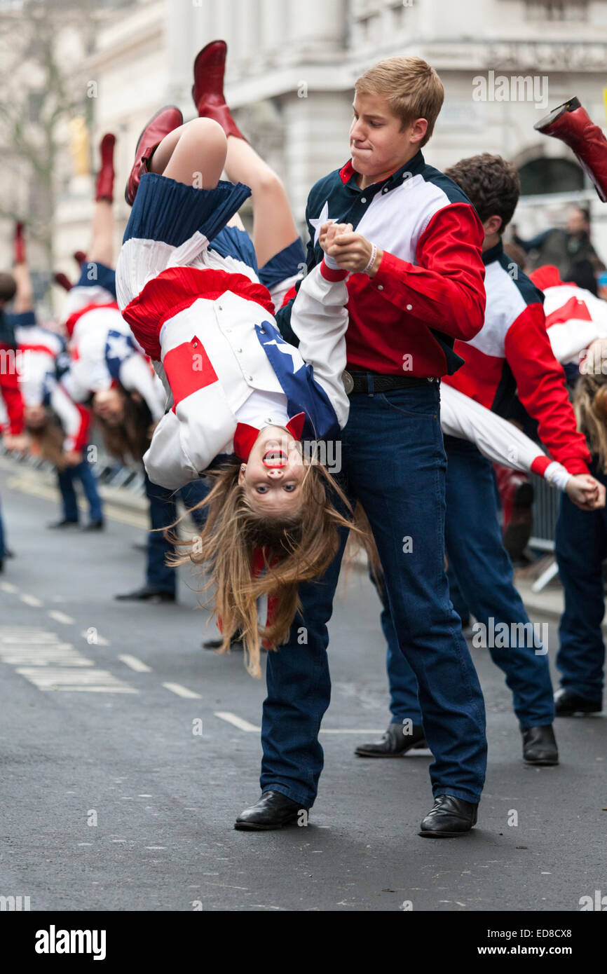 London, UK, 1st January 2015. The Lake Highlands Wildcat Wranglers from Texas, USA perform their routine with a - Stock Image