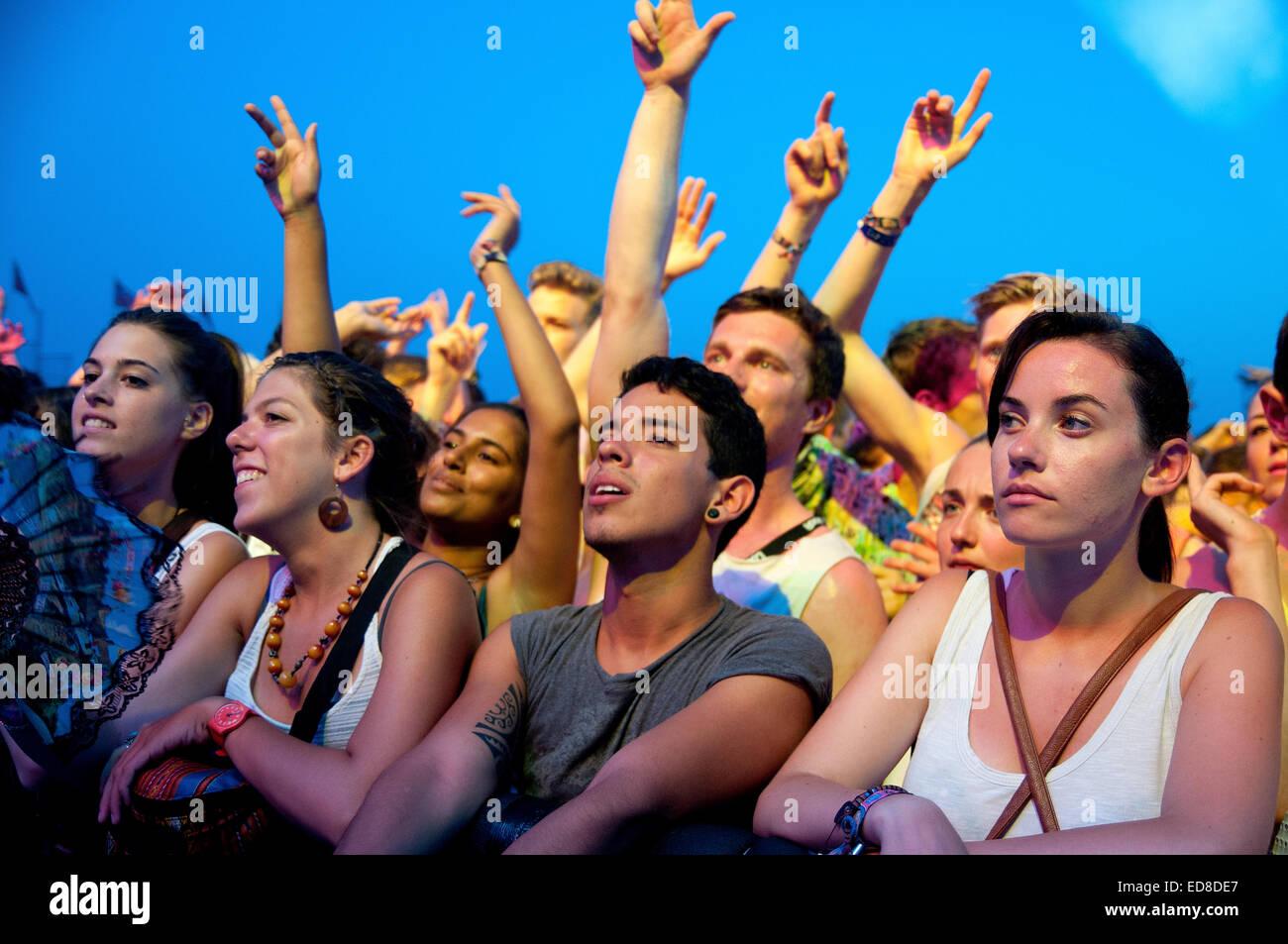 BENICASSIM, SPAIN - JULY 19: Crowd (fans) at FIB (Festival Internacional de Benicassim) 2013 Festival. - Stock Image