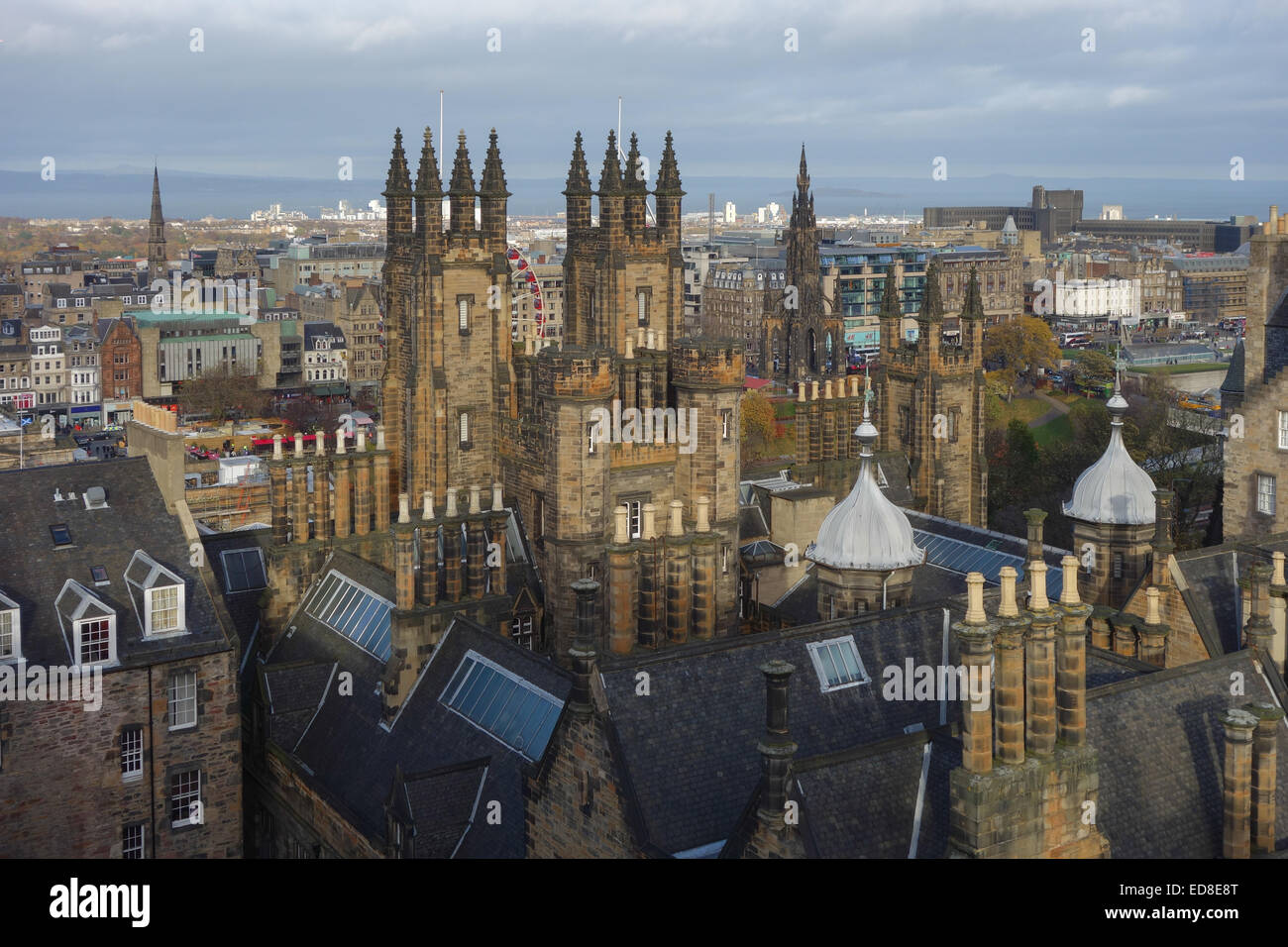 Looking from the roof of Camera Obscura towards the General Assembly Hall of the Church of Scotland, Edinburgh, - Stock Image