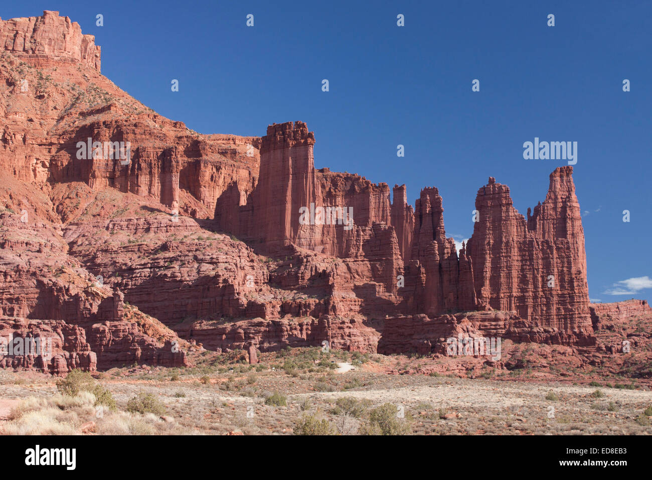 USA, Utah, near Moab, Highway 128, Fisher Towers - Stock Image