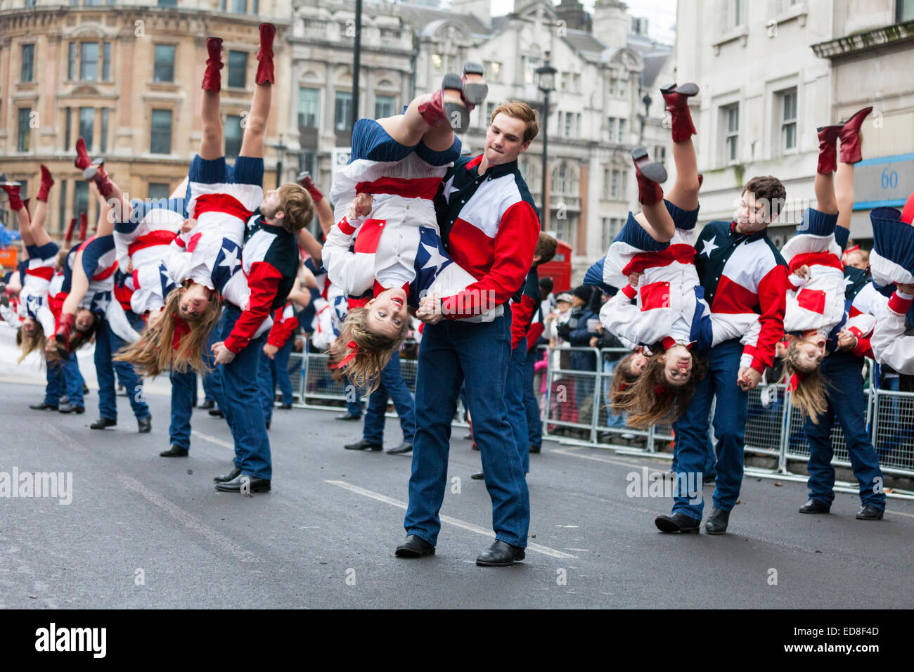 London, UK, 1st January 2015. The Lake Highlands Wildcat Wranglers from Texas, USA perform their routine with a Stock Photo