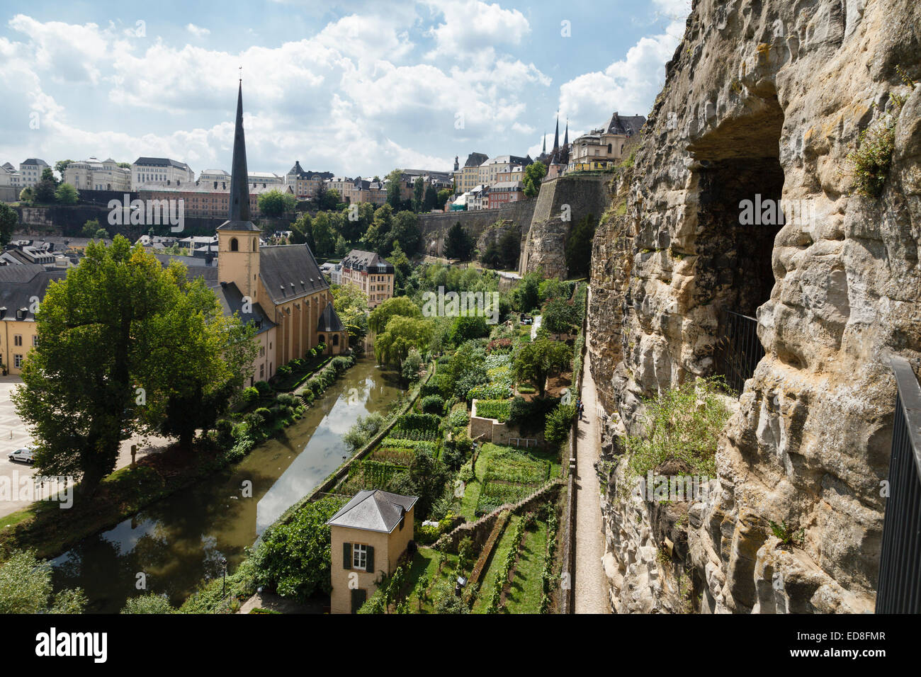 Neumünster Abbey (St John's Church) and the River Alzette from the Bock Casemates, Luxembourg City - Stock Image