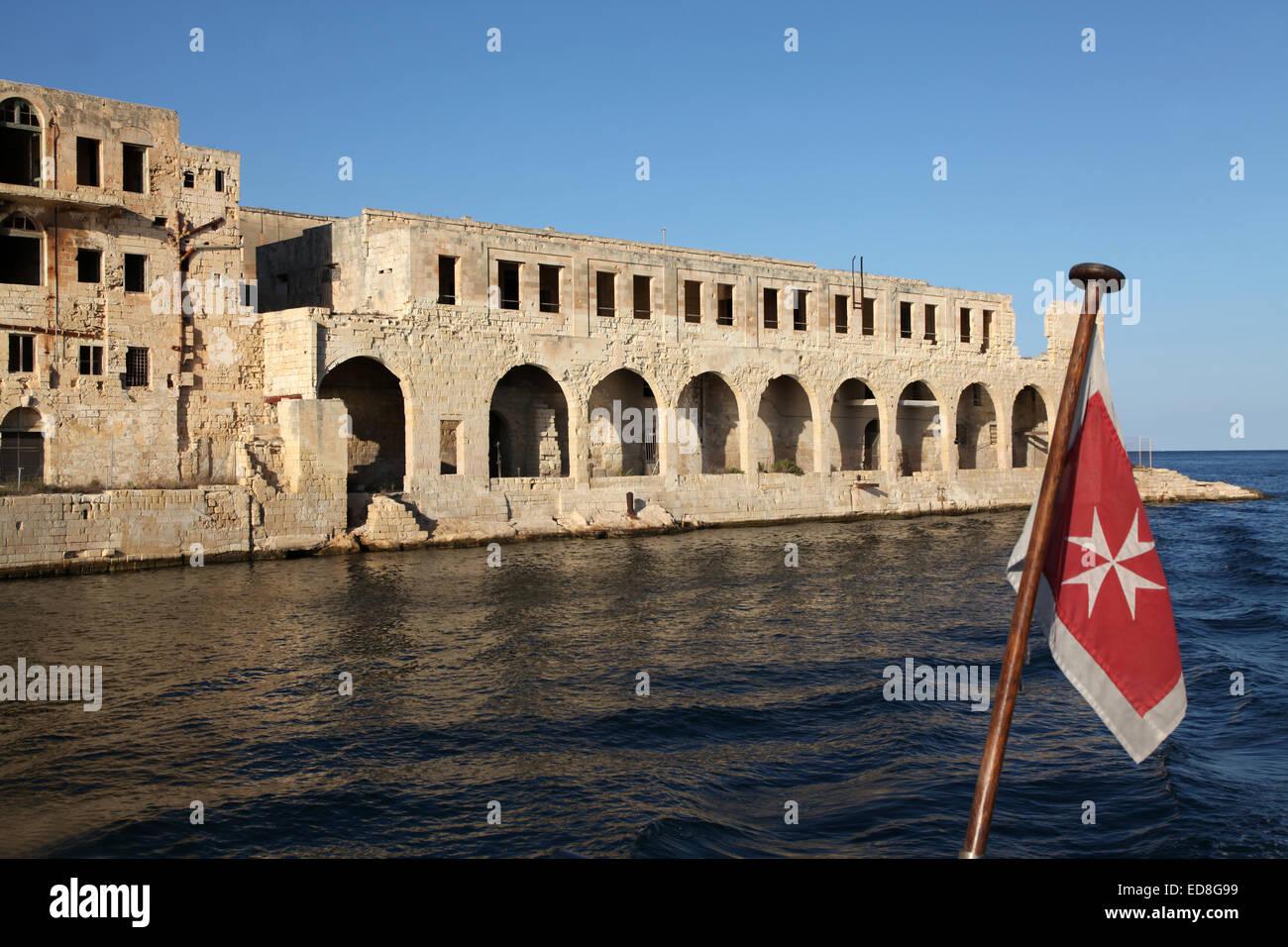 The Former Lazzaretto isolation hospital and ex-Mediterranean fleet submarine base on Manoel island, Malta with - Stock Image