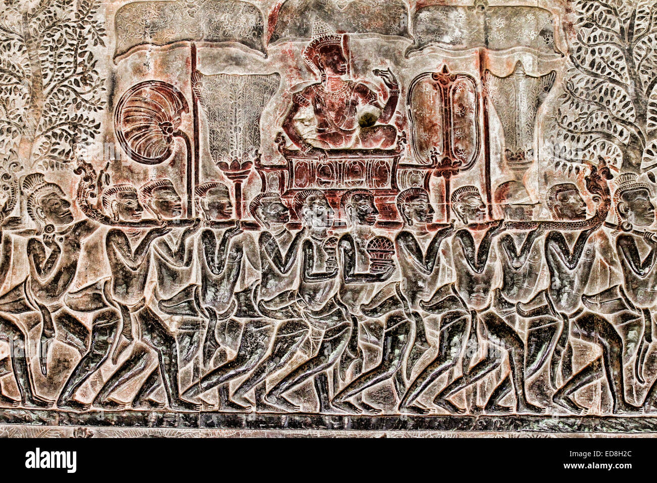 The army of King Suryavarman II bas relief on the south gallery, west wing at Angkor Wat temple, Cambodia Stock Photo