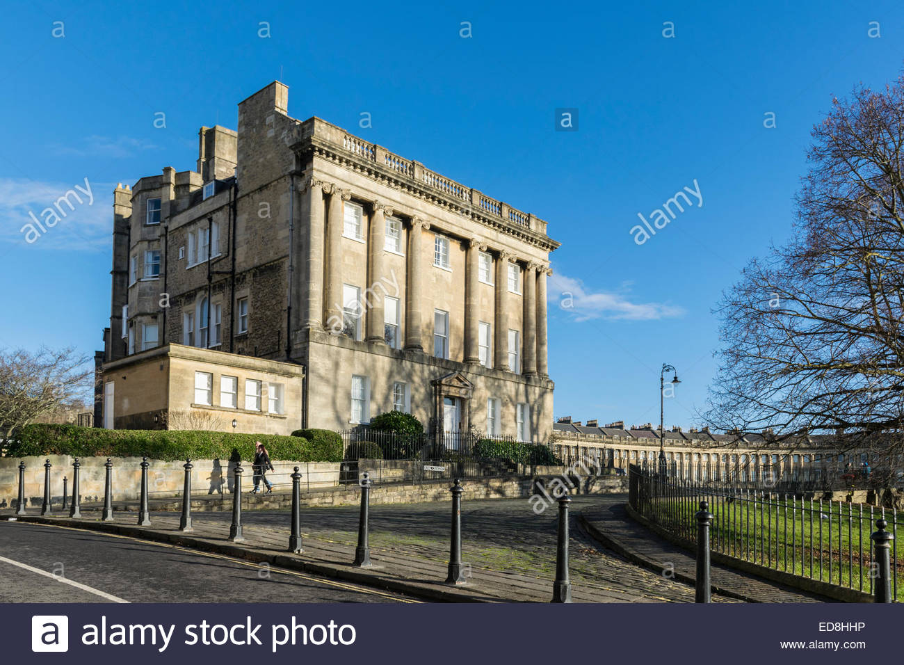 The western end of the Royal Crescent in the city of Bath, Somerset, England - Stock Image