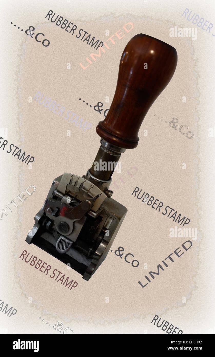 Vintage adjustable rubber stamp - Stock Image