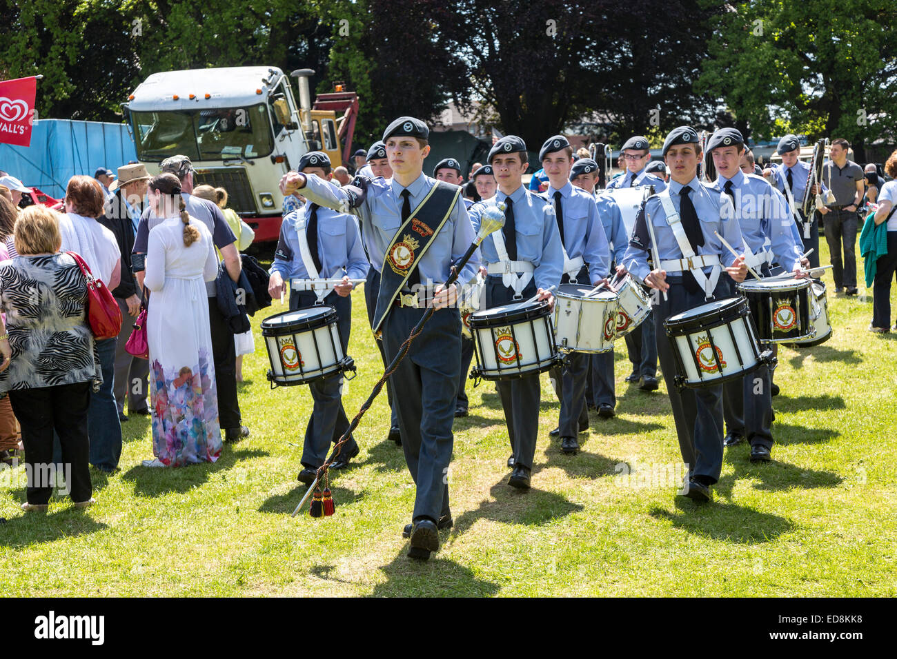 ATC Air Training Corps cadets marching band at the Steam Rally, Abergavenny, Wales, UK - Stock Image