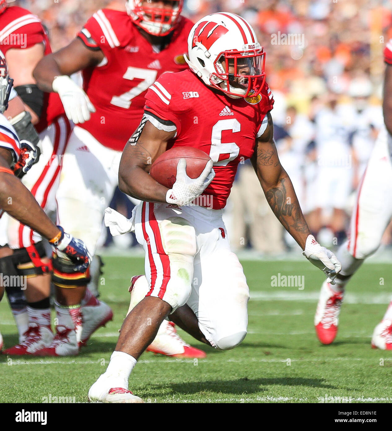 Tampa, FL, USA. 1st Jan, 2015. Wisconsin's Corey Clement #6 is into the open field during a run at the Outback - Stock Image