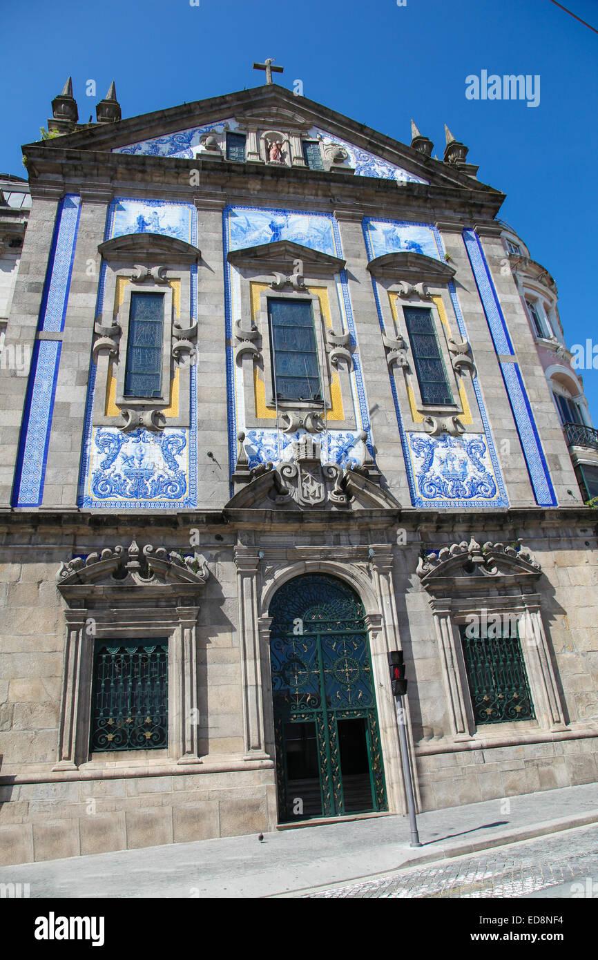 Facade of the Church of Santo Antonio dos Congregados (18th Century) in Porto, Portugal. - Stock Image