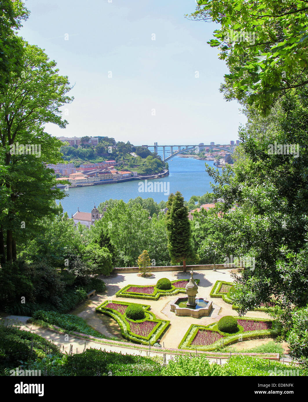 View on the center of Porto by the river Douro in Portugal. - Stock Image
