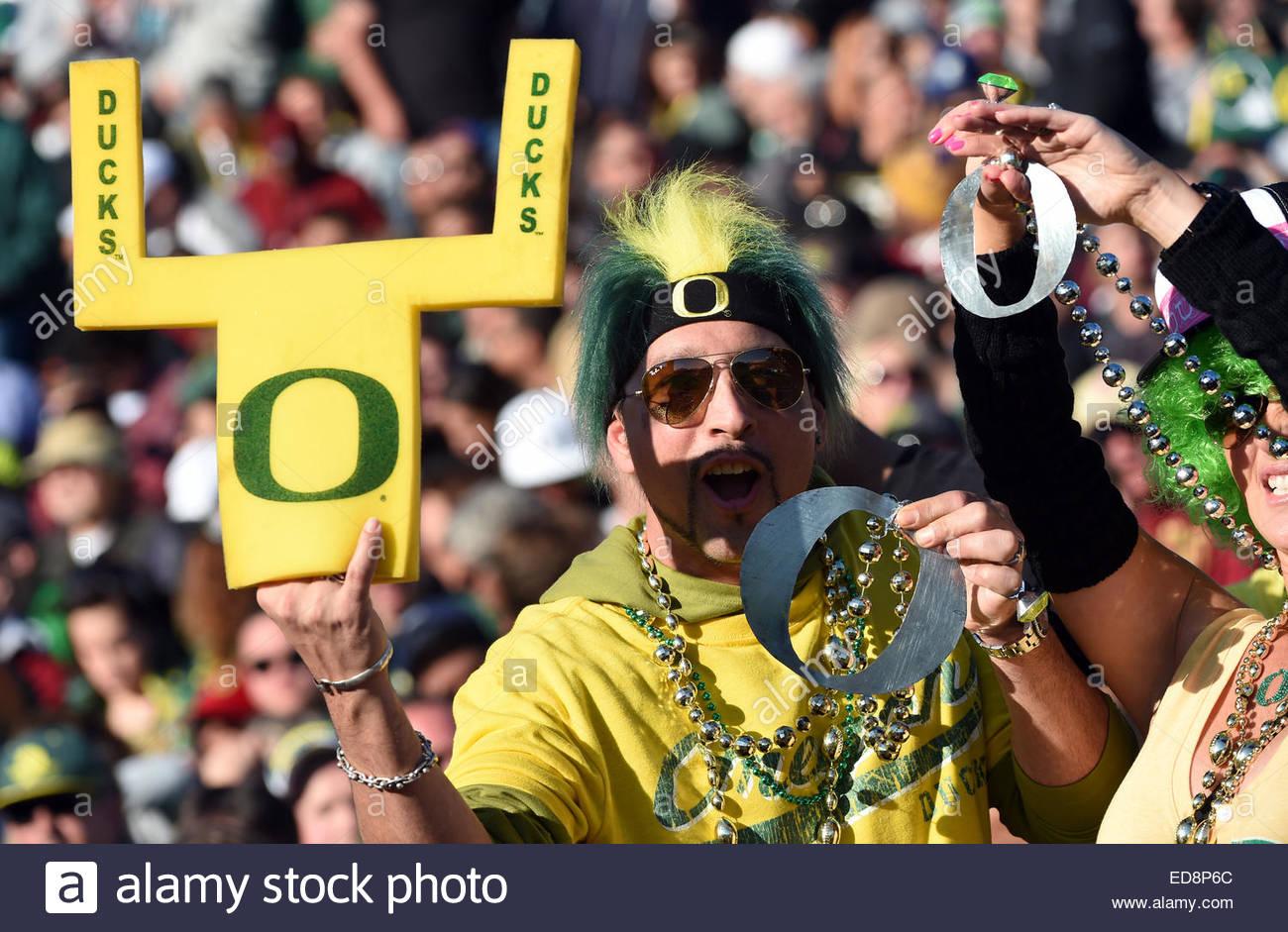 Pasadena, California, USA. 01st Jan, 2015. Oregon Ducks fans react after a touchdown against Florida State Seminoles - Stock Image