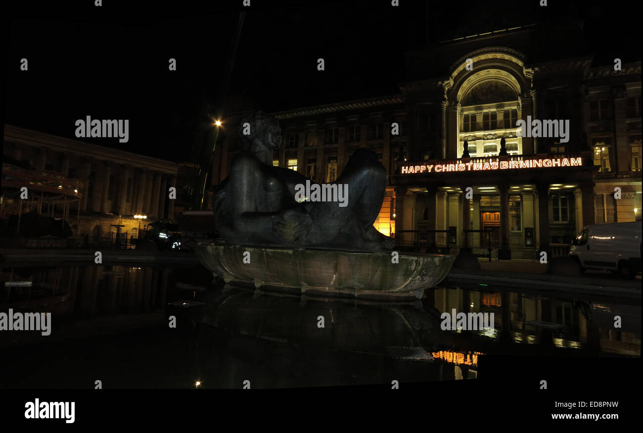 Happy Christmas Birmingham, The River,Floozie in the Jacuzzi, Victoria Square,Birmingham, West Midlands, England, - Stock Image