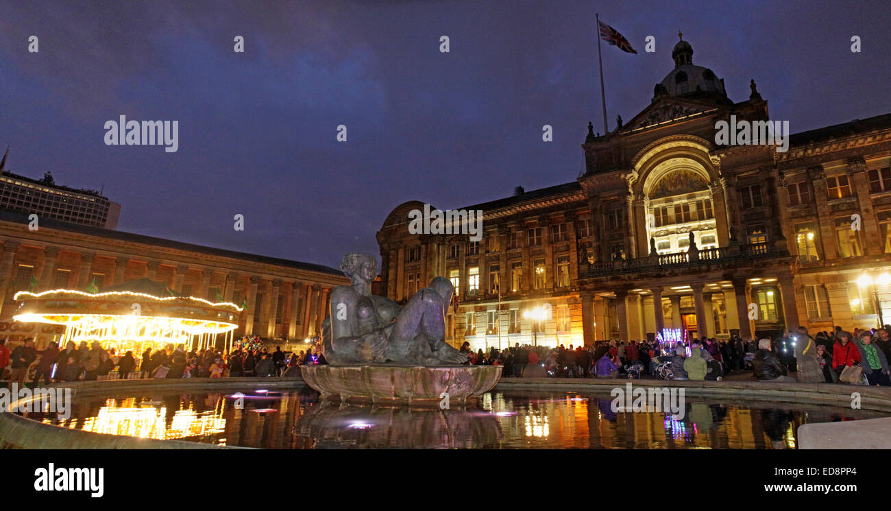 Birmingham Town Hall Council House,Victoria Square, Birmingham, England, UK, B3 3DQ, at dusk - Stock Image