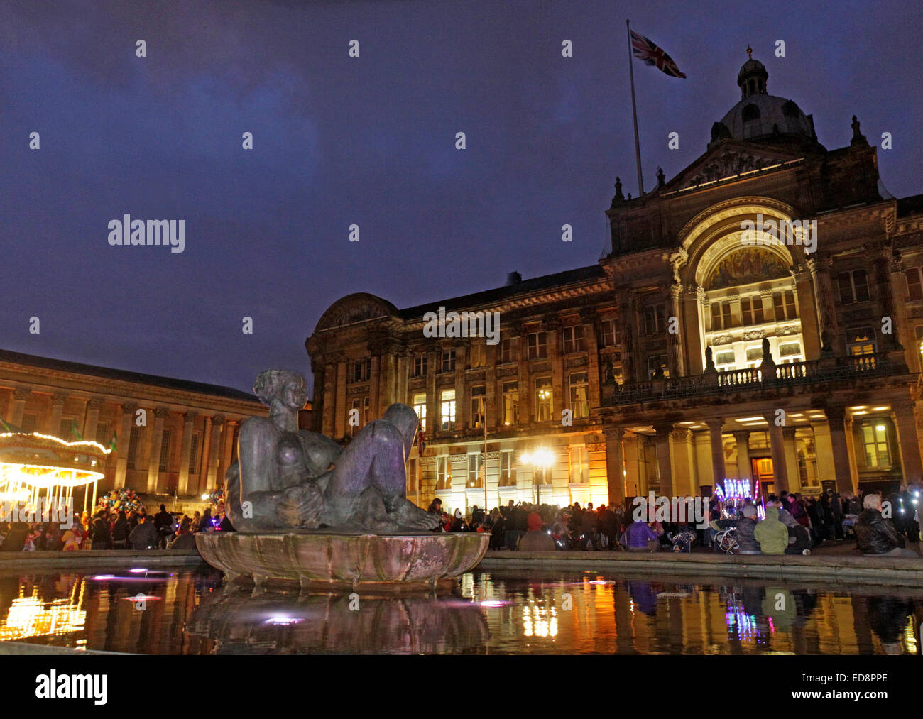 Birmingham Town Hall Council House,Victoria Square, Birmingham, England, UK, B3 3DQ, at dusk Stock Photo