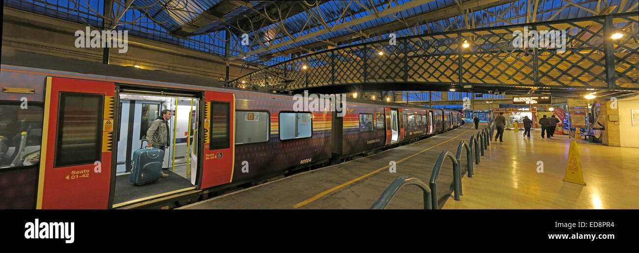 Pano of Carlisle Citadel, Railway Station at dusk, Cumbria, England, UK - Stock Image